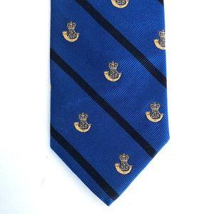 Brooks Brother Logo Stripe Blue Silk Men's Tie